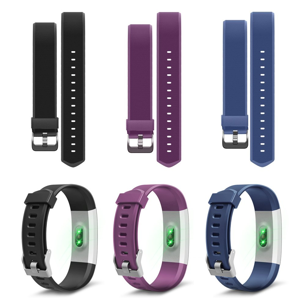 Black, Blue, Purple LETSCOM Replacement Bands for Fitness Tracker ID115PlusHR 3 Pack