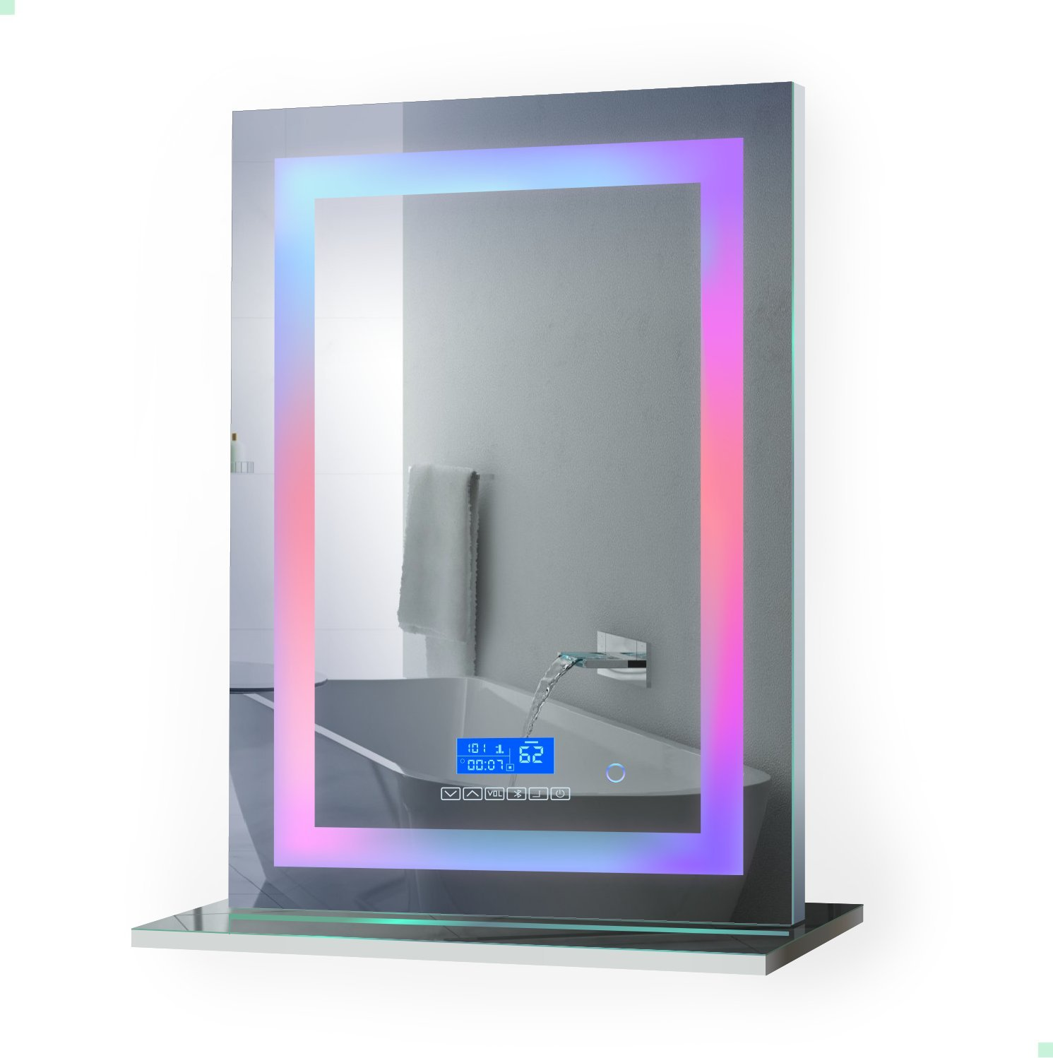25 inch x 31 inch Lighted Chromotherapy Mirror With Remote | Includes Built in Bluetooth Speakers|Table Top Or Wall Mount | Plug-in