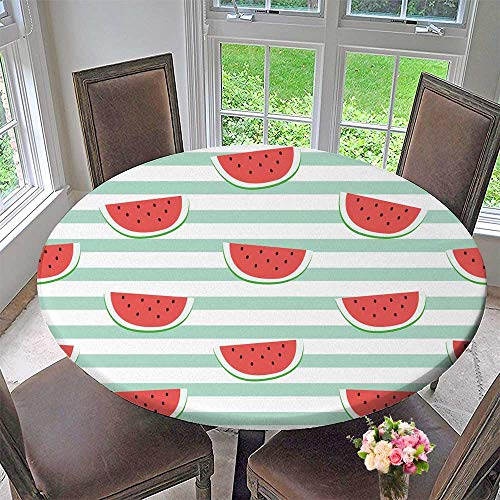 Chateau Easy-Care Cloth Tablecloth red Watermelon Slice Design on Striped Blue Background Wallpaper Backdrop for Home, Party, Wedding 55