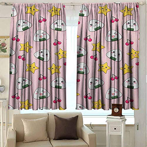 (Doorway Curtain Anime Happy Crying Cute Cartoon Rice Balls Cherries Stars Pattern on Stripes Art Room Darkening Thermal 55 W x 72 L Inches Pink Yellow and White)