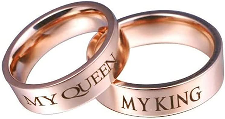 Bishilin 2Pcs Stainless Steel Wedding Ring Sets Men and Women Gold Plated High Polished 8MM 6MM Coupel Rings Women Size 6 /& Men Size 8