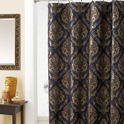 Image Unavailable Not Available For Color Croscill Home Laviano Shower Curtain Navy Blue With Gold Medallion Print