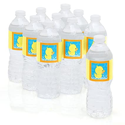 Big Dot Of Happiness Ducky Duck   Baby Shower Or Birthday Party Water Bottle  Sticker Labels