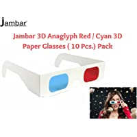 Jambar Red & Anaglyph 3D Paper Glass ( 10 Pcs.Pack ) Red and Cyan 3D for 3D Movie Magazine