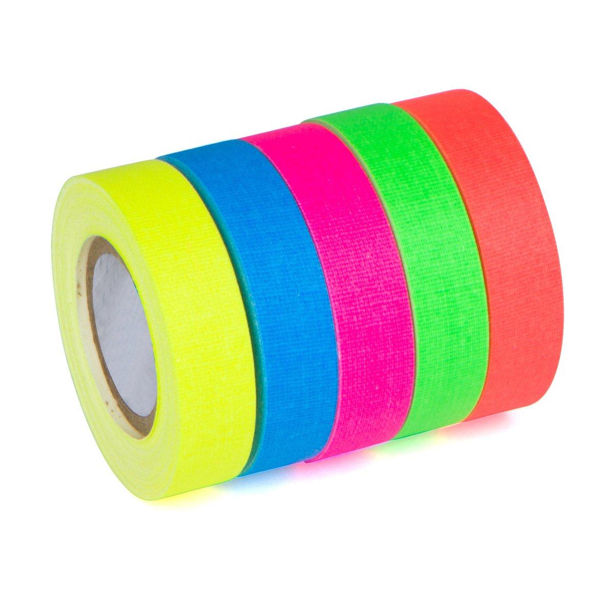 5-Pack SUPER BRIGHT UV Blacklight Reactive Fluorescent / Neon Gaffer Tape Matte Finish by Glow King (Image #2)