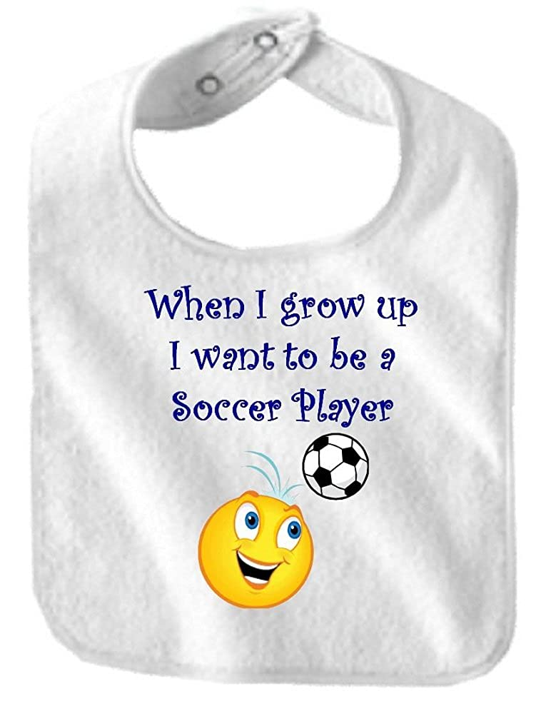WHEN I GROW UP I WANT TO BE A SOCCER PLAYER - BigBoyMusic Baby Designs - White Bib