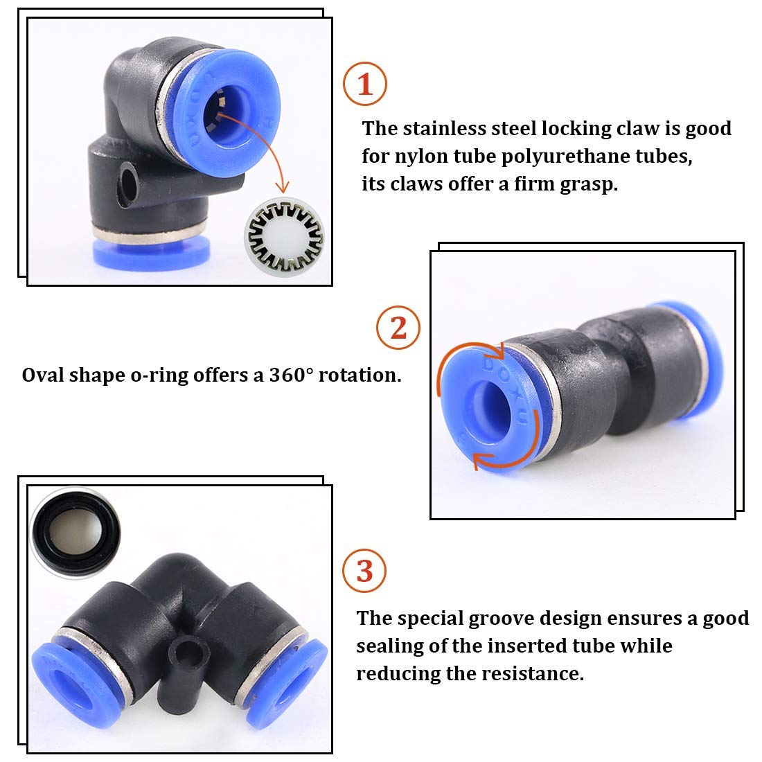 Coolfuy PV-12 Pneumatic Air Pipe Quick Connector Right Angle 90 Degree Tube Reducer Fitting 20Pcs