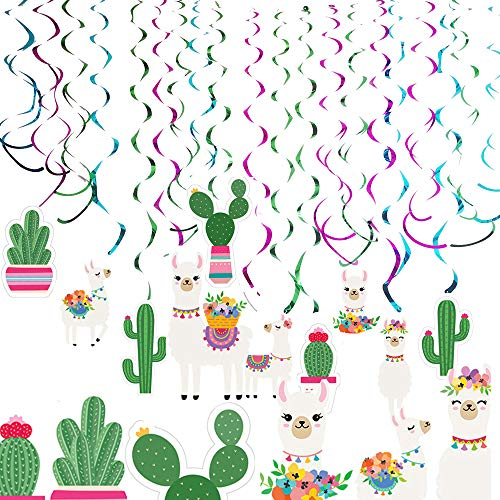(Aduck Llama Cactus Party Supplies Hanging Swirl Decorations, Mexican Fiesta and Cino De Mayo Cactus Llama Themed Birthday Party Supplies Decorations, Bolivian Peru Alpaca Party Cactus Baby Shower Succulent Party)