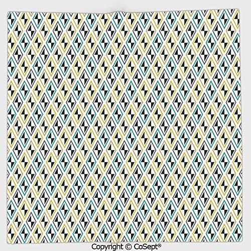 AmaUncle Lightweight Square Towel,Funky Unusual Striking Diamond Line Motifs Skewed Triangular Shapes,for Adults Girls Boys Women Men(13.77x13.77 inch),Black Sky Blue Yellow