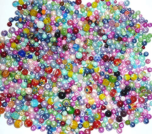 Assorted Beads, Loose Beads for Craft DIY Projects, Beading Kit, Pearls and Millefori Beads, Jewelry Making Kit (3/4 Pounds of Assorted Beads) ()