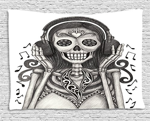 Day Of The Dead Decor Tapestry by Ambesonne, Dia de Los Muertos Skull Girl with Headphones Music Lover Print, Wall Hanging for Bedroom Living Room Dorm, 60WX40L Inches, Dust and Dimgrey