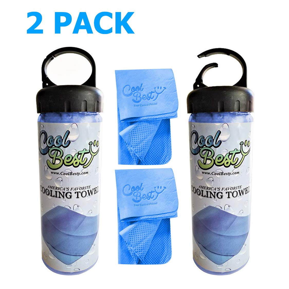Cool Besty 2 Pack-Blue/Blue - Cooling Towel-Workout/Tennis/Golf/Biking-Best for Any Sport Activities&Athletes Cold Towel-Chilly Pad Instant Cooling Snap Towel-Perfect for Fitness&Gym