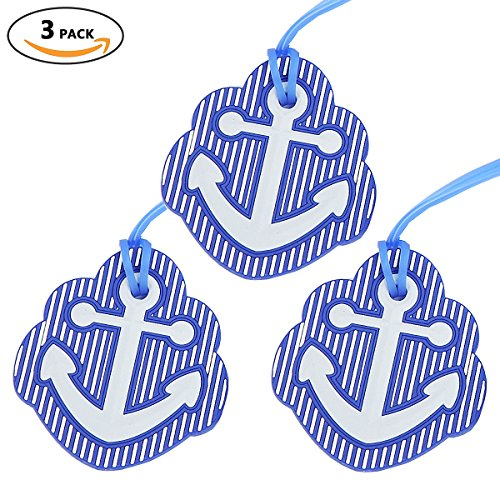 Anchor Luggage Tags, Travel Suitcases Identifiers Labels, Silicone Cruise Baggage Tag Set 3 Pack