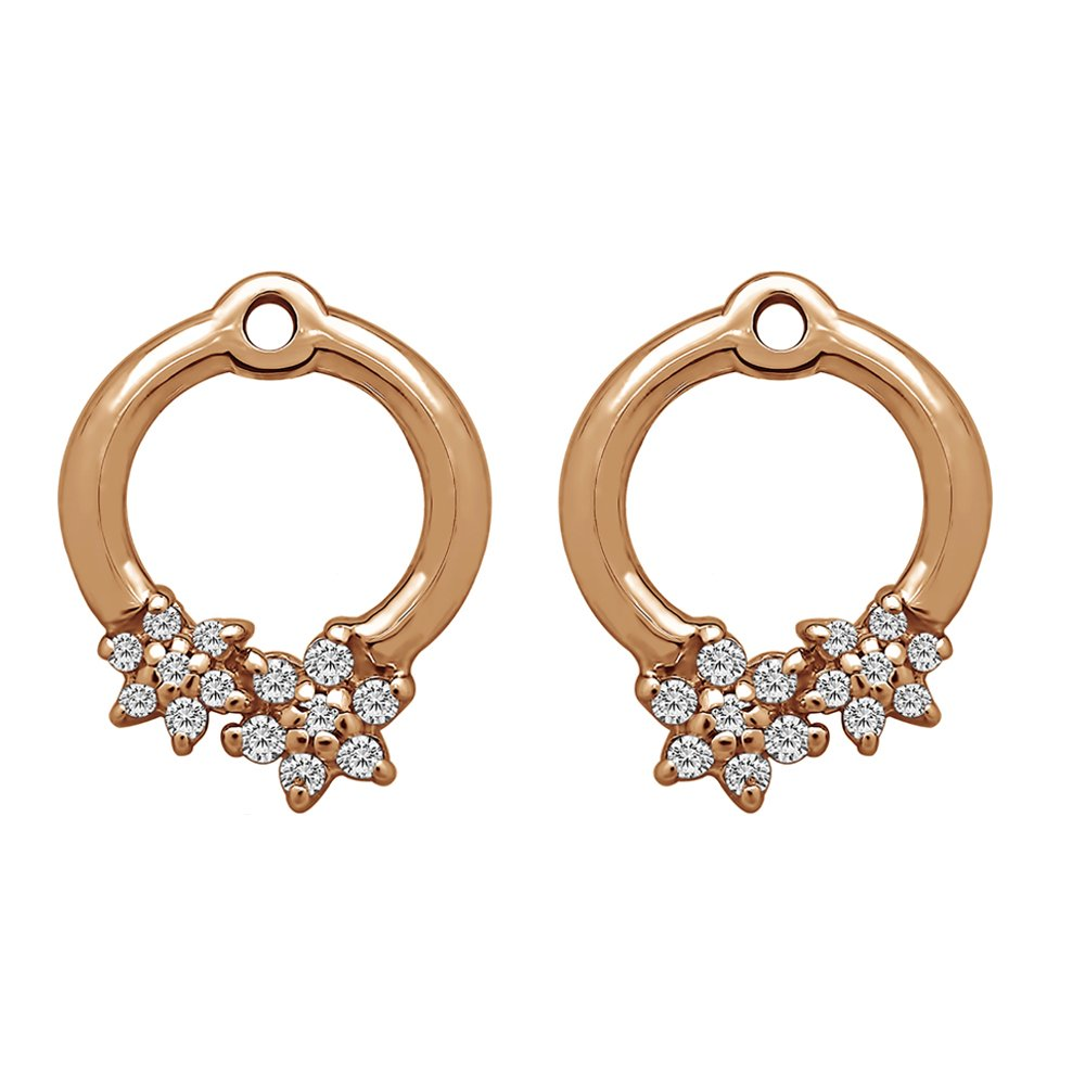 1/7 ct. Forever Brilliant Moissanite by Charles Colvard Moissanite Flower Earring Jackets in Rose Gold Plated Sterling Silver (0.13 ct. twt.)