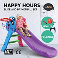 Keezi Slide with Basketball Hoop for Kids-Blue and Purple
