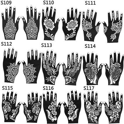 2 Pcs Henna Stencil Temporary Hand Tattoo Body Arts Sticker Template Tools size 103 Hand Tattoo Stickers Sanwood