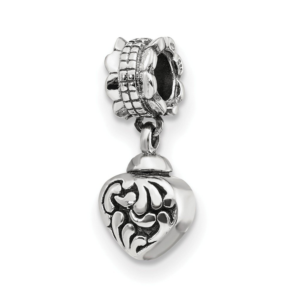 Sterling Silver Heart Ash Holder Bead Charm