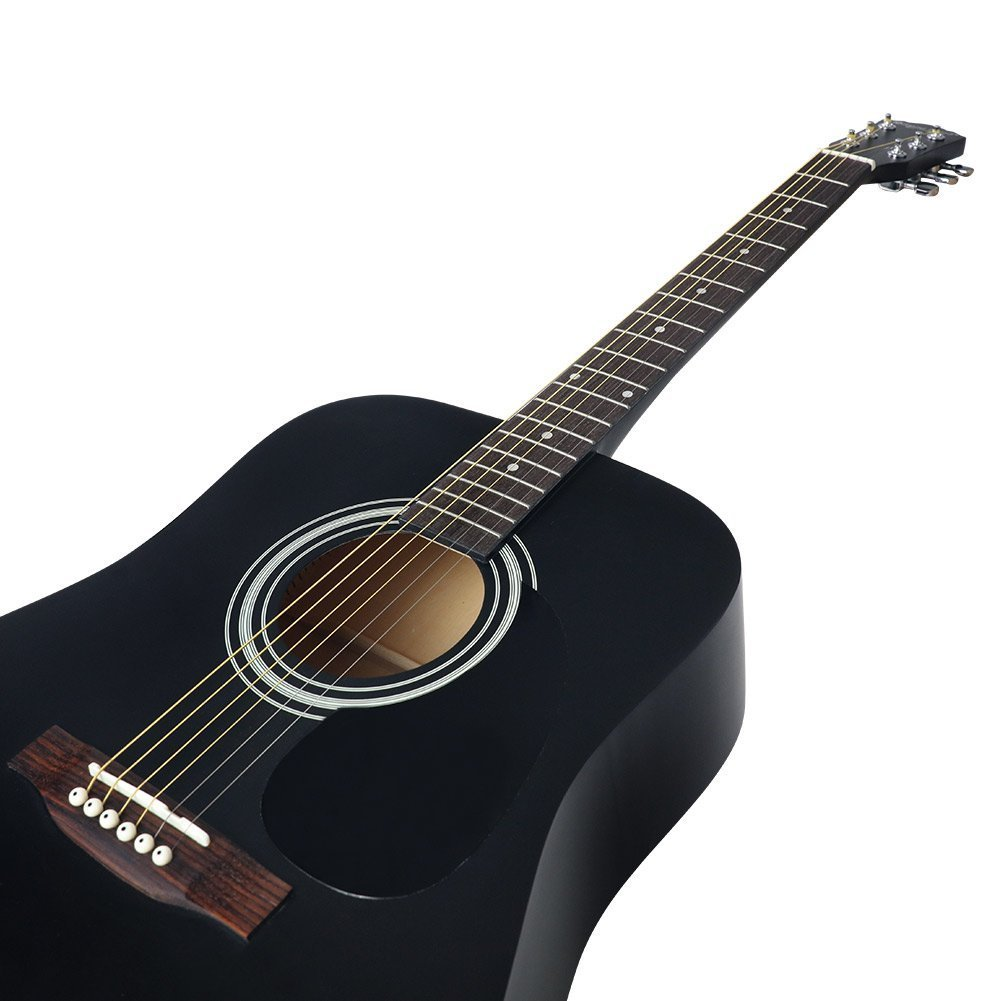 Strong Wind guitarra acústica negra 41 pulgadas tamaño completo cuerdas de metal kit de funda, cuerdas extras, púas, paño de limpieza