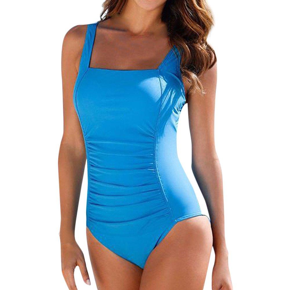Mlide Women's One Piece Plus Size Swimwear Square Neck Swimsuit Push Up Padded Bikini Bathing Suit,Blue S