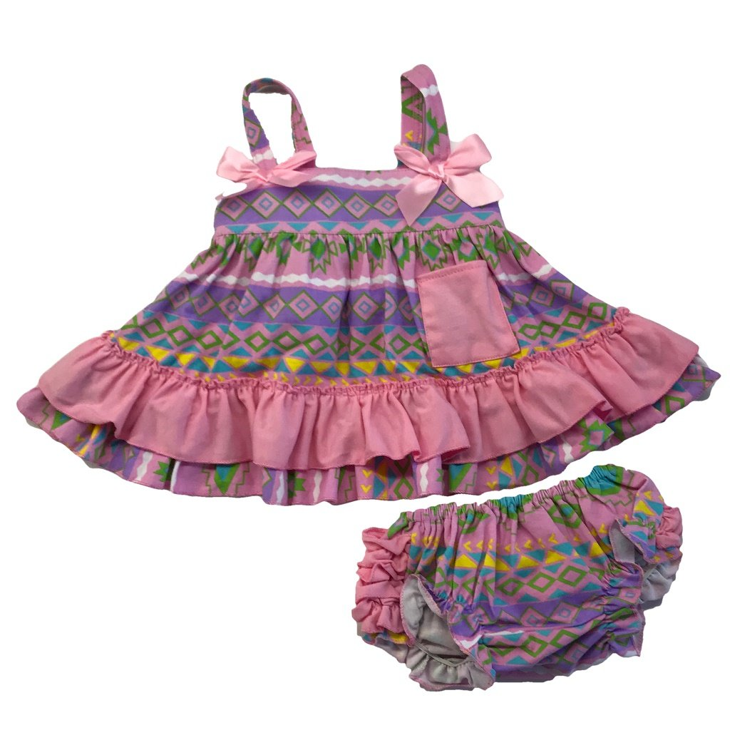 54ba2e27d243 Amazon.com  Kids Clothing Infant Baby Toddler Girl Purple Pink Aztec Tribal Swing  Top Ruffled Outfit Boutique Clothing Set  Clothing