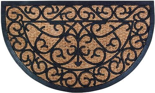 Esschert Design Rubber Doormat with Cocos – Half Round 29.5 x 17.75