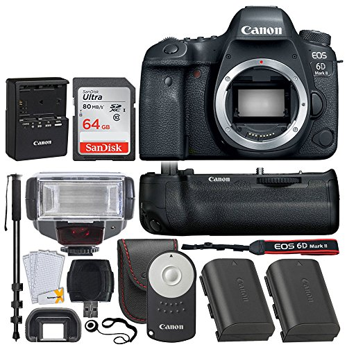 Canon EOS 6D Mark II DSLR Camera (Body) Wi-Fi Enabled - Canon BG-E21 Battery Grip + Canon Battery LP-E6N + Canon RC-6 Wireless Remote + SanDisk 64GB SD Card + TTL Flash + 72