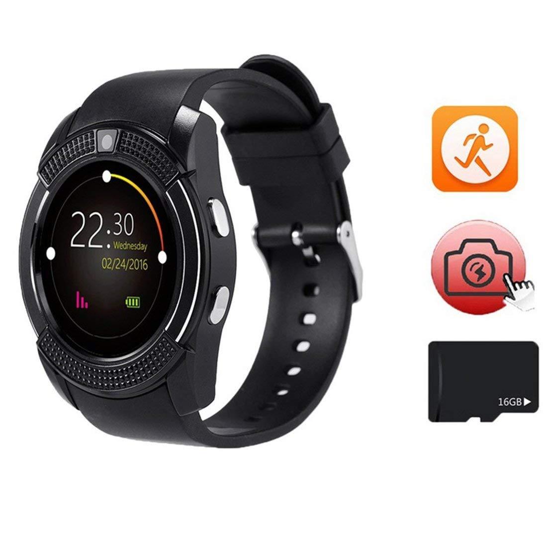 V8 Reloj de Pulsera Inteligente Reloj para Dormir Reloj Deportivo podómetro Reloj Soporte para teléfono Tarjeta SIM TF Tarjeta de 0.3MP para Android iOS: ...