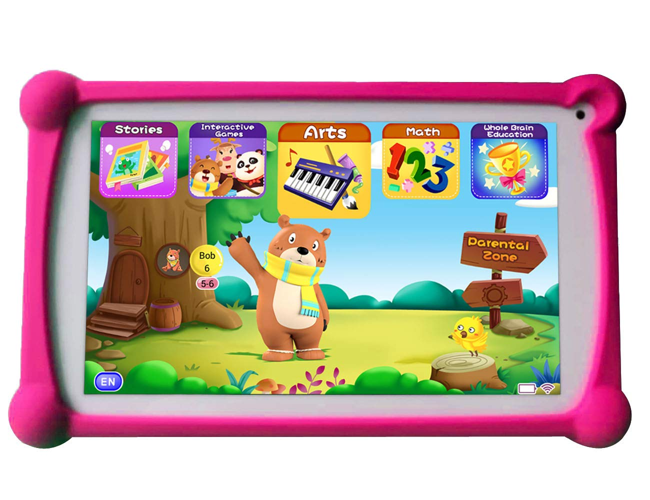 Kids Tablet, B.B.PAW 7 inch 1G+8G Android Tablet with Additional 120+ English Preloaded Apps-Candy Pink by B.B.PAW  (Image #1)