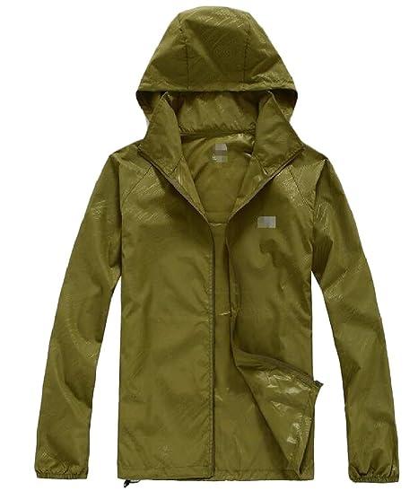 b12113829 Sweatwater Men's Hoodie UV Protective Hooded Waterproof Zipper Coat Skin Jacket  Army Green XS