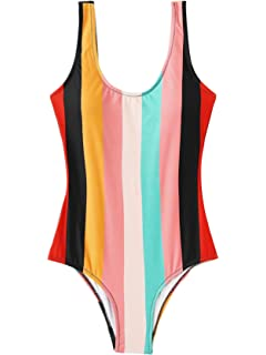 fe0998b87c SheIn Women's Rainbow Colorful Striped High Cut Low Backless One Piece  Swimsuits