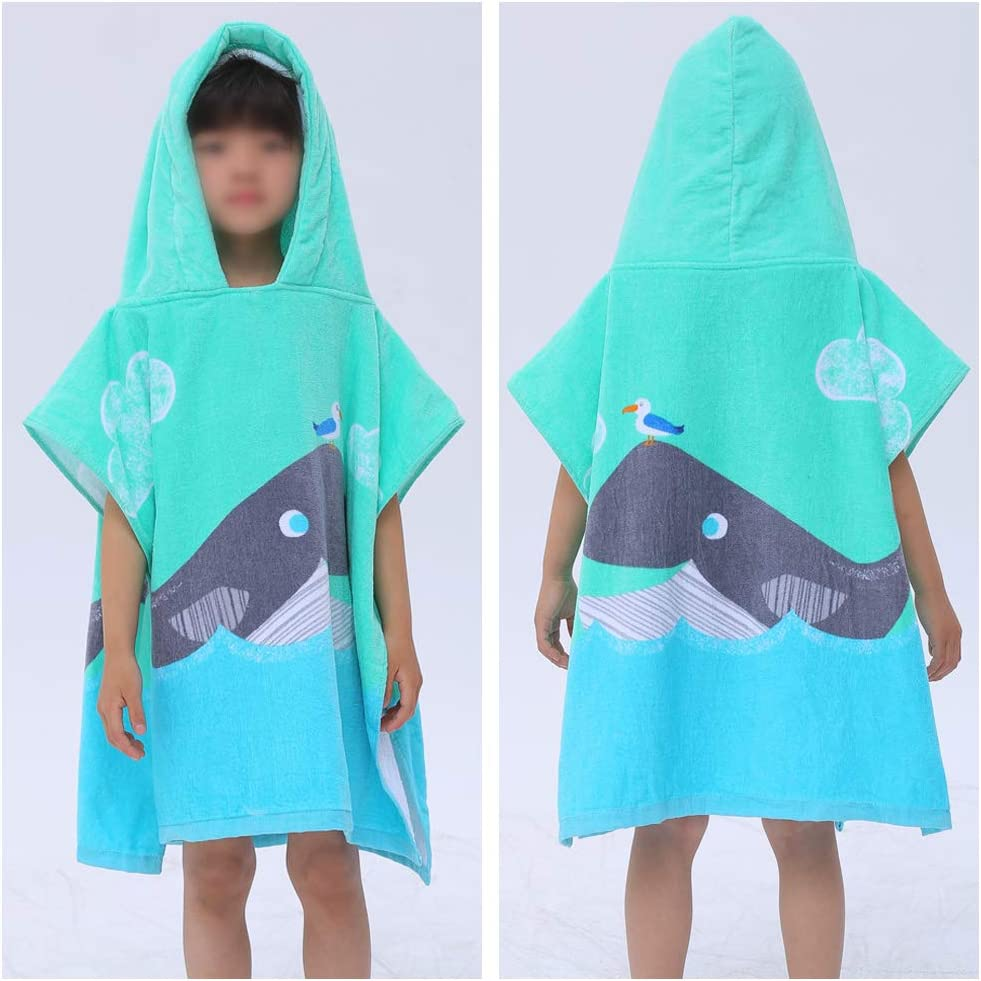 Honeytecs Baby Kids Cotton Hooded Pullover Bath Towel Beach Swimming Towel Poncho 60cm