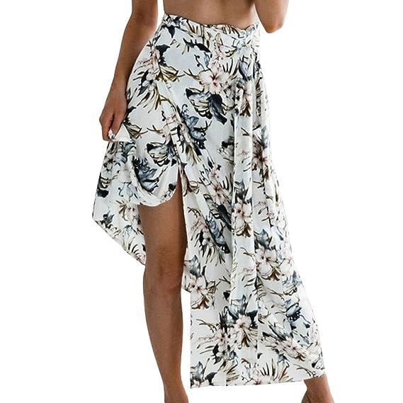 Mujer Faldas Largas Verano Playa Elegantes Vintage con Estampado ...