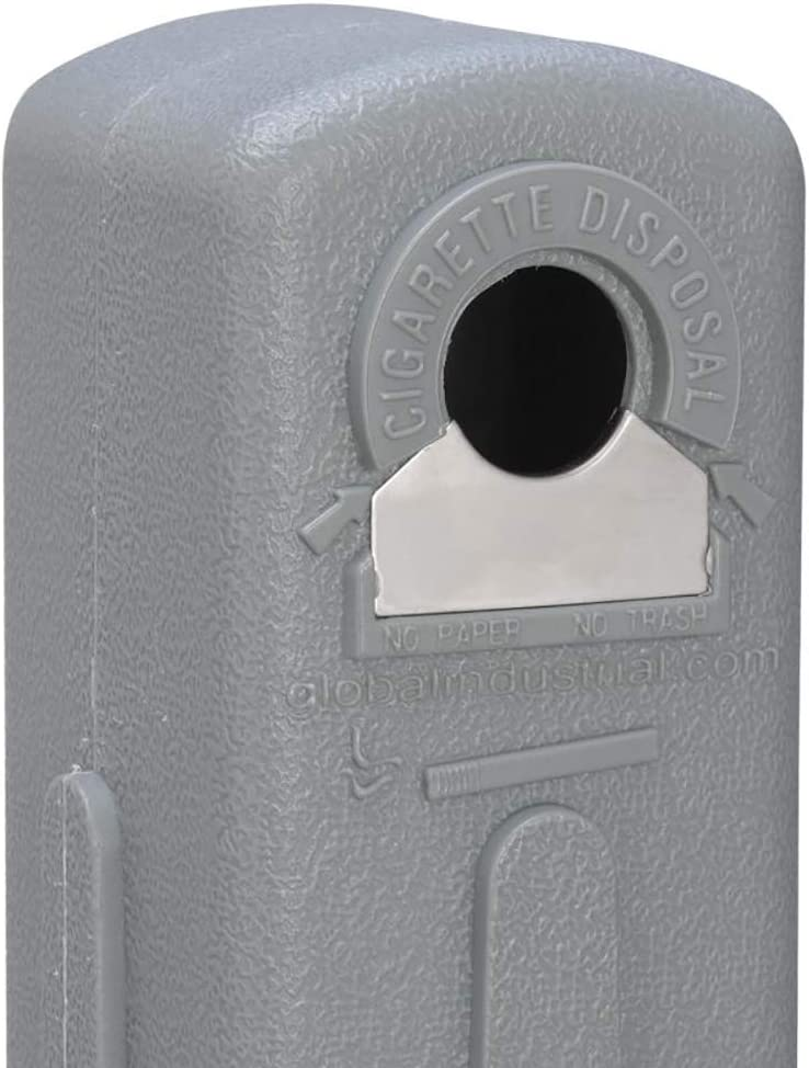 Gray Global Industrial Low Maintenance 5 Gallon Large Capacity Flame Resistant Upright Plastic Outdoor Ashtray