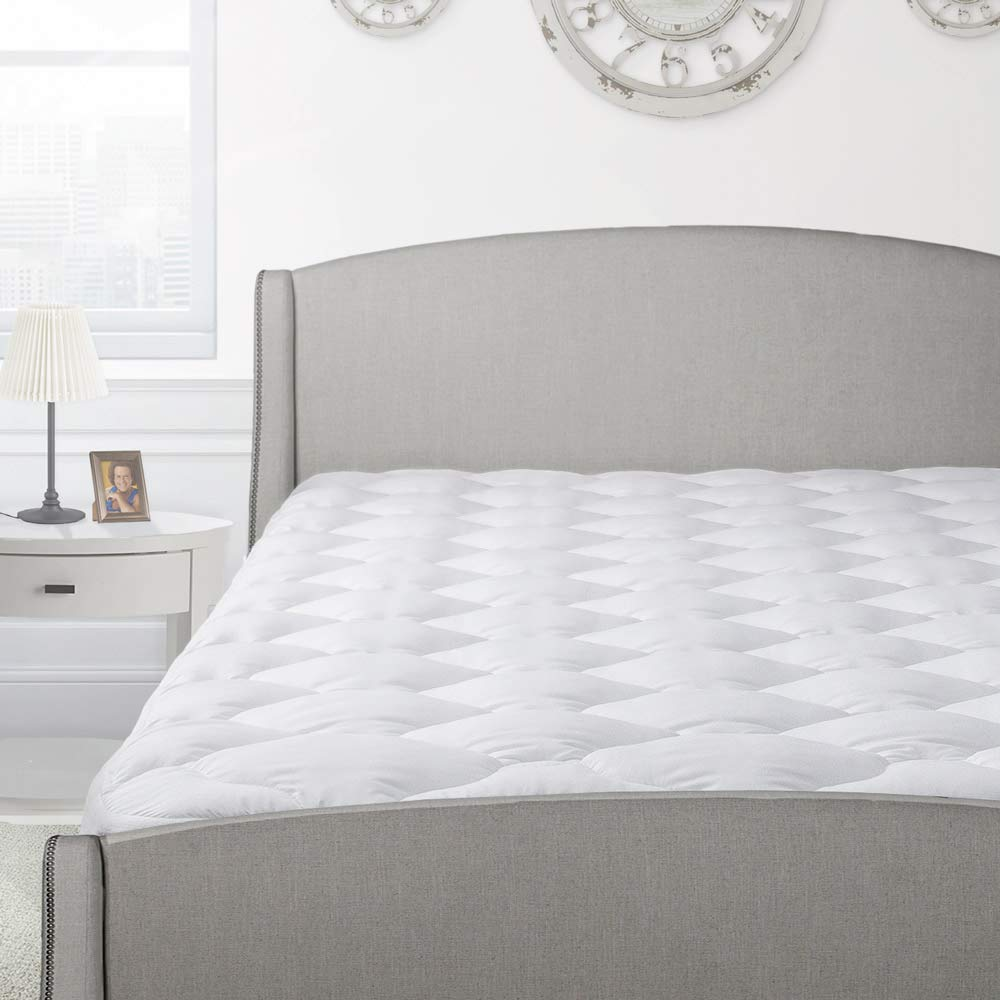 Back-to-School Thick Pillow Top Mattress Pad | Hypoallergenic Cooling Mattress Topper | Plush Down Alternative Fill | Luxury Comfort, Twin XL Size