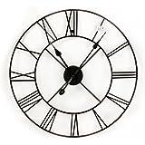 Large 40cm Skeleton Frame Black Metal Garden Wall Clock With Roman Numerals