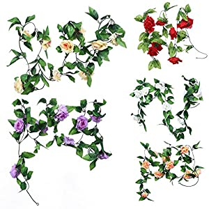 Whitelotous 2pcs 8ft Artificial Silk Rose Flower Ivy Vine Leaf Garland Wedding Party Home Decor 59