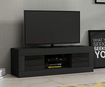 Keinode Moderno Mueble de TV LED Blanco Mate y Blanco Alto Brillo de luz LED RGB Soporte de TV aparador 125 cm Unidad de Almacenamiento Muebles para Sala de Estar Dormitorio Negro: