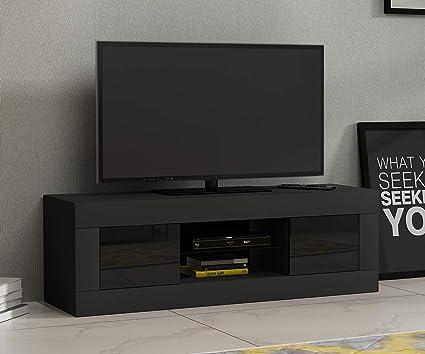 Keinode Moderno Mueble de TV LED Blanco Mate y Blanco Alto Brillo ...