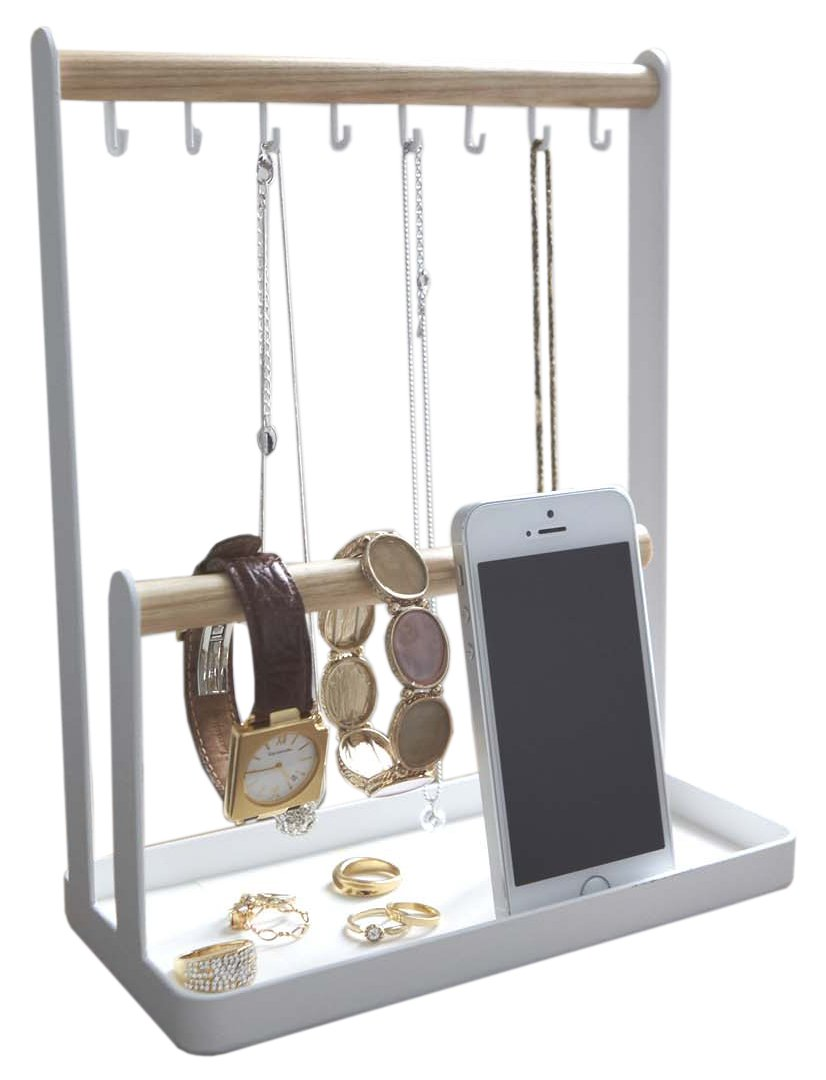 Jewelry /& Accessories Vanity//Desk 2-Tier Organizer Stand Wooden Bars Catch-All Tray in White Finish Red Co 11.5 H FDE87R