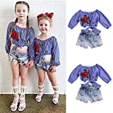 Kyпить FANOUD Cute Baby Girls Off Shoulder Embroidery Rose Flower T Shirt Tops + Denim Shorts Outfits Clothes Set (3T, Blue) на Amazon.com