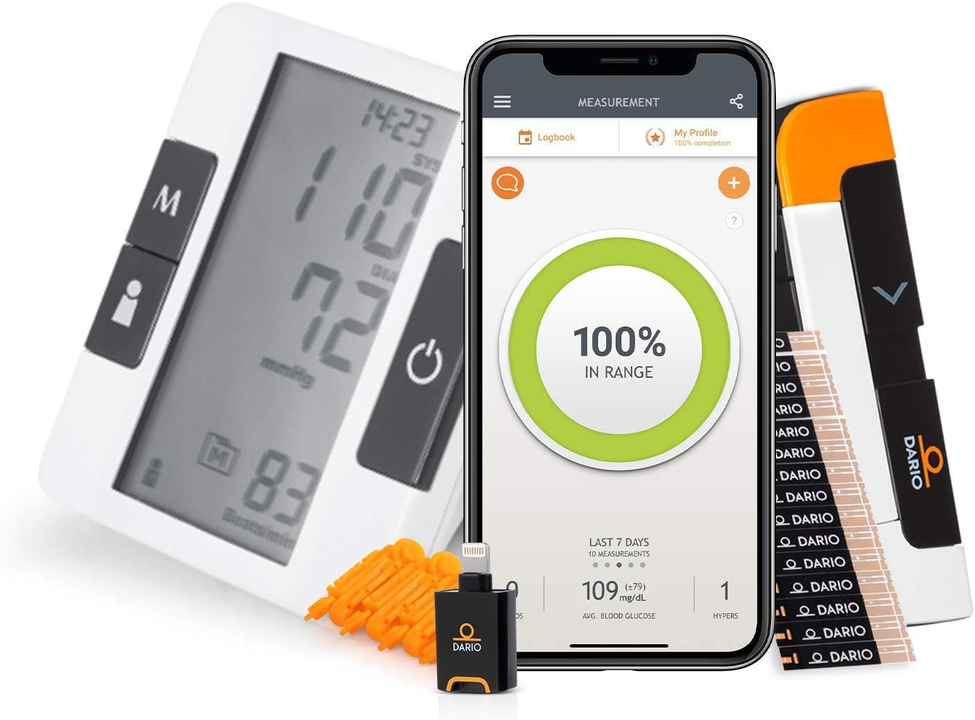 Bundle & Save Dario Diabetes Blood Glucose Meter Kit. Test Blood Sugar Estimate A1c. All-in-One Smart Blood Sugar Monitor Test Strips + Lancets (iPhone Only) + Bluetooth Blood Pressure Monitor