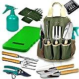 Scuddles - UPGRADED Garden Tool Set Gardening Bag Accessories KIt BONUS | Kneeler Pad | 9 Stainless steel Hand Digging Tools Pruner, Shovel, Fork, Rake, Shears, Weeder, Gloves, Water Sprayer
