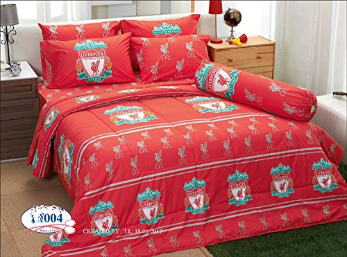 LFC Liverpool Fc Football Club Soccer Team Official Licensed Bedding Set, Fitted Bed Sheet, Pillow Case, Bolster Case, Comforter LI004 Set A+1 (Twin 42''x78'') by Tamegems Bedding
