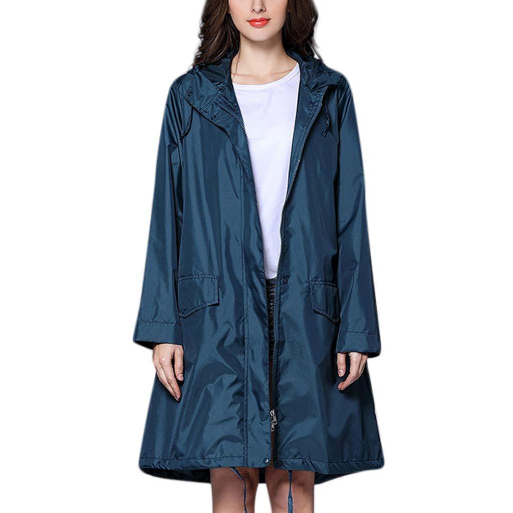 Women's Plain Raincoat Ladies Rain Jacket Outdoor Waterproof Windproof Trench Coat Outwear - Viahwyt ☀ Latest Design ! Super Trendy !