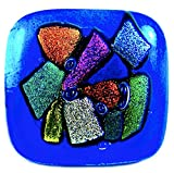 Dichroic Glass Knobs Custom Made Abstract Confetti Mosaic - Cabinet or Drawer Pull Handle - 1'' / 30mm - Rainbow Red Pink Orange Cobalt Blue Purple Green Smooth Shards Fused Glass