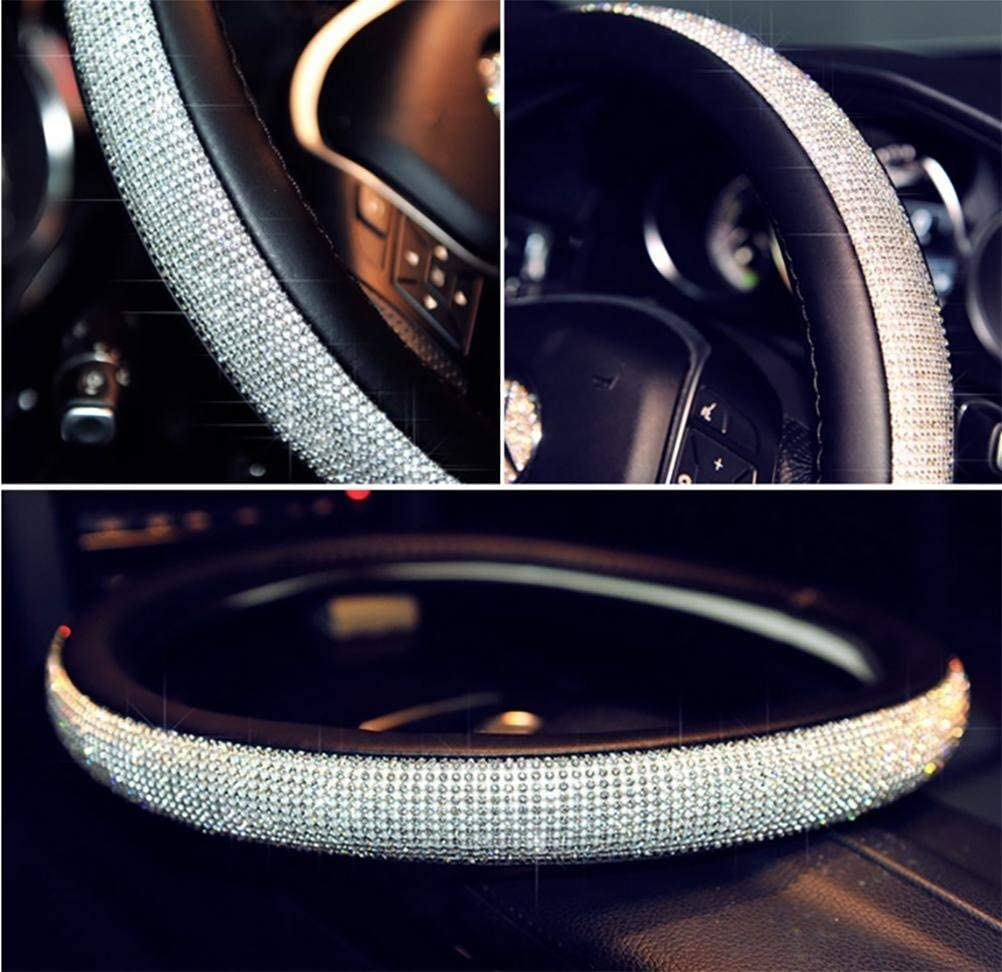Daydayholiday 16 in Steering Wheel Cover Bling Truck Steering Wheel Cover Women with 2X Bling Ring Accessories