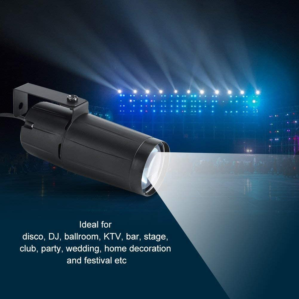 UKing Stage Spotlights,3W White Pinspot Light with Single Stand for Club,DJ,Disco,Party,Wedding