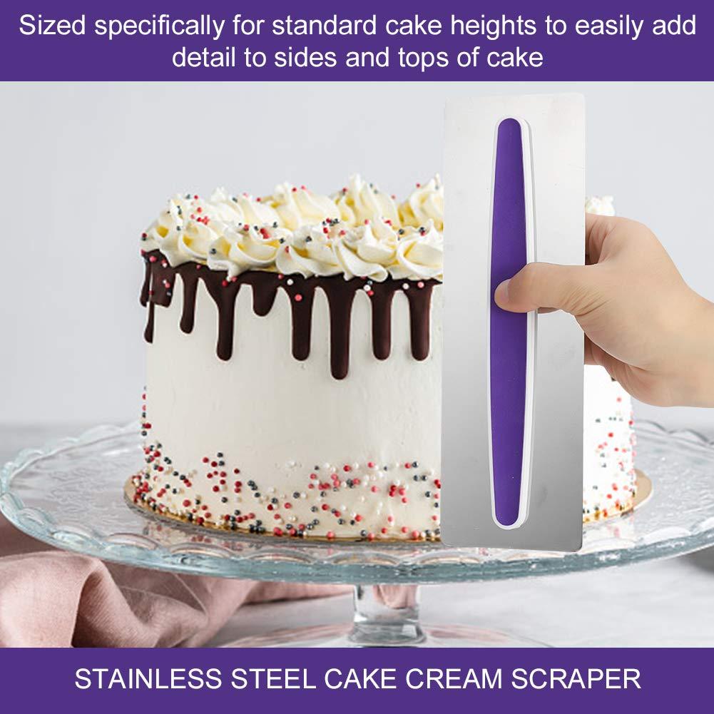 redcherry 4Pcs Cake Smoother Scraper Cream Scraper Butter Cream Icing Polisher Stainless Steel Cake Edge Decorating DIY Tool Mousse Cream Sugar craft