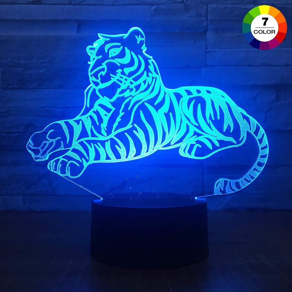 AZIMOM 3D Illusion Night Light, 7 Colors Changing Nightlight for Kids with Smart Touch Optical Illusion Bedside Lamps Bedroom Home Decoration for Kids Boys & Girls Women Birthday Gifts (Tiger)