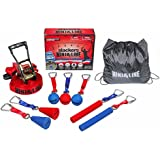 Slackers Ninjaline Pro Combo Kit with 7 obstacles Red/Blue, 30 Feet